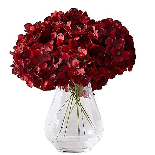 Kislohum Hydrangea Silk Flowers Heads with 10 Stems Burgundy Artificial Hydrangea Flower Head for Wedding Centerpieces Bouquets DIY Floral Decor Home Decoration