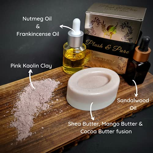 Plush and Pure FLAWLESS AND WINSOME Luxury Soap | Shea Butter, Cocoa Butter, Mango Butter, Nutmeg Oil, Frankincense Oil and Pink Kaolin Clay (110g)