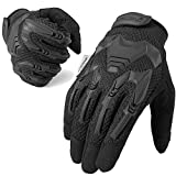 WTACTFUL Rubber Guard Full Finger Tactical Gloves for Airsoft Paintball Hunting Hiking Military Army Cycling Bicycle Motorbike Motorcycle Riding Driving Climbing Work Gear Black Size Large
