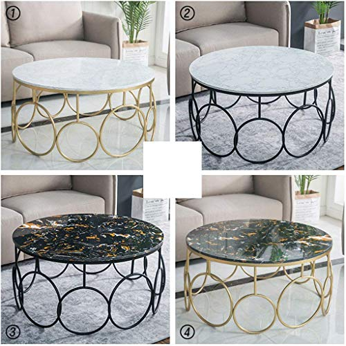 Living Room Tables 31.5 Inch Light Faux Marble Round Coffee Table Golden Wrought Iron Sofa Storage Table Simple Small Apartment Retro Short Side Table (80X45cm),3