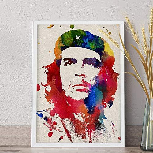 Nacnic Lámina para enmarcar CHE GUEVARA Poster con imagen estilo acuarela del mítico revolucionario. Impresa en y tintas resistentes. Tamaño A4