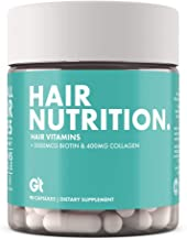 GT - Genesis Today Hair Nutrition Strong Healthy Hair Support Supplement – 5,000 mcg Biotin, 400mg Collagen - Vitamin Rich Repair – 90 Capsules