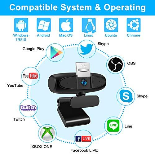 Full HD 1080P Webcam Micrófono Estéreo para Pc, KNMY Enfoque Manual Cámara Web USB para Computadora Portátil, Soporte Youtube, Videollamadas de Skype, Enseñanza en Línea/Trabajo en Conferencias miniatura