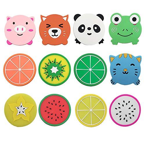 Sottobicchieri in silicone per bevande, 5 animali + 7 immagini di frutta, set di tovagliette e sottobicchieri per mobili (12 pezzi)