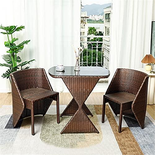 JHKGY 3-Teiliges Patio-Bistro-Set Für Den Außenbereich,PE Rattan Wicker Set,Glasplatte Tisch Und 2 Rattanstühle,Gartenmöbel-Sets Modern Stilvoll,Brown c