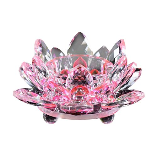 Hot Sale!!Lotus Crystal Glass Figure Paperweight Ornament Feng Shui Decor Collection Diameter - 60mm (Pink)