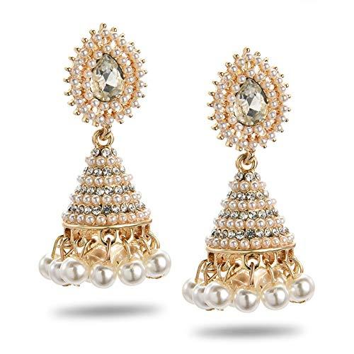 QIN Nuevos Pendientes étnicos Pendientes Colgante de Perlas Caída de la Boda India Colgando en Femenino Joyería de Moda Regalo Joyería India Pendientes