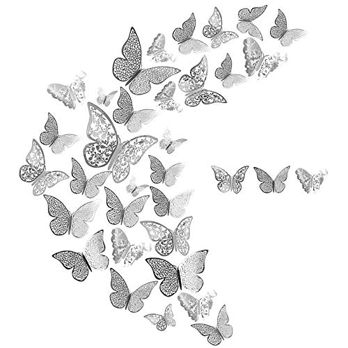 DONQL 36 Stück Wandtattoo Schmetterlinge 3D Schmetterling Dekorationen Aufklebe Deko Schmetterling Wandaufkleber für Wohnung Türen Fenster Badezimmer Dekoration 3 Größen, 3 Formen (Silber)