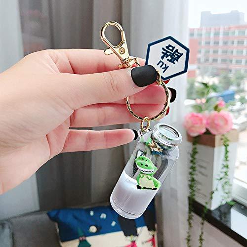 Sinzong sleutelhangers voor meisjes drijvende melk dinosaurus vloeibare hanger sleutelhanger ketting drijvende fles in olie zak hanger 2 stuks Koel
