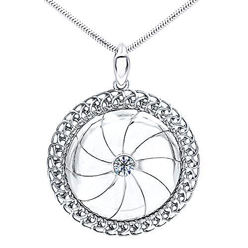 Halskette mit Anhänger, massives 925er Sterlingsilber, runde Kristallscheibe, groß, Sonnenmotiv, filigrane Zirkonia-Kristalle