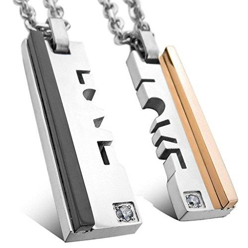 Adisaer Acier Inoxydable Couple Femme Homme Collier Pendentif 2PCS - Diamant Blade Valentine Argent Or Noir