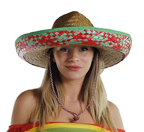 I LOVE FANCY DRESS LTD Un Sombrero Mexicain en Paille avec Le Bord Rouge Ainsi qu'une Bande en Son Centre Jaune. Idéal pour Les soirées Mexicaine.