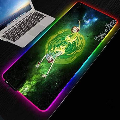 Anime Rick and Morty Gaming Mouse Pad RGB Iluminación LED 7 Colorido Mousepad Alfombrilla de ratón 25x35cm 35x90cm Teclado Ratones Mat-300x800mm_Espesor 3 mm