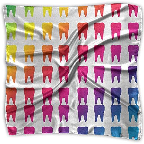 Pañuelo suave cuello bufanda mujer pañuelo cuadrado dientes molares dental colorido poliéster...
