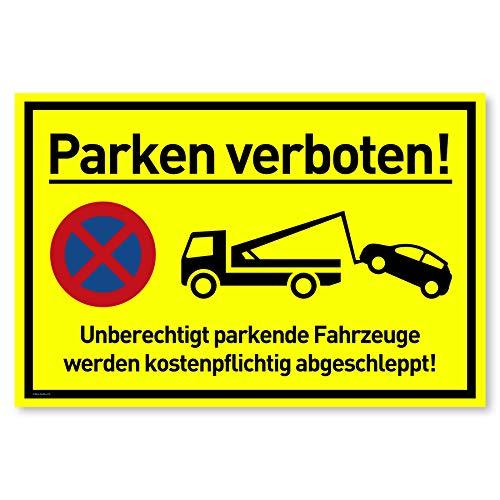 Privatparkplatz Schild Parken Verboten (30x20 cm Kunststoff) - Fahrzeuge Werden kostenpflichtig abgeschleppt - Klares Zeichen für Parkverbot - Parkplatz Schilder Privatgrundstück (Neongelb)