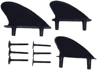 [Fumemo] サーフボード ソフトボード 用 ソフト フィン シンプル 黒 3枚 セット サーフィン ネジ 付 取替え 部品