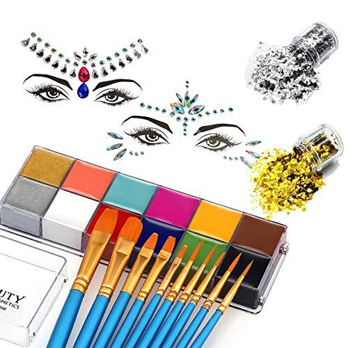 CCbeauty Face Paint 12 Farben Professionelle Schminkfarben mit 10 pcs Pinseln, 2 Packungen Strasssteine Aufkleber Gesichtschmuck Schminke Set für Karneval Halloween Fasching