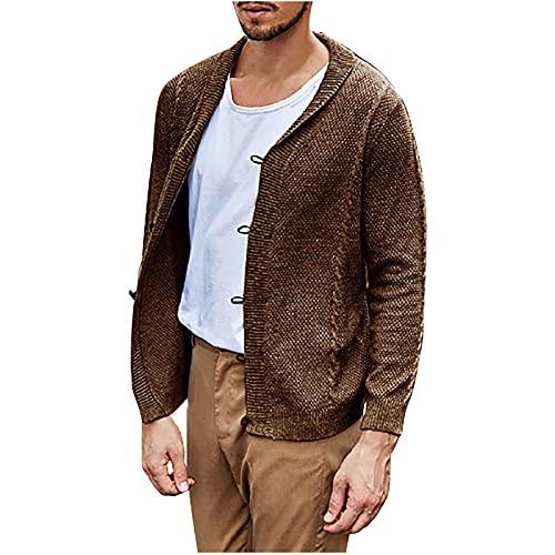 DOExert Chaqueta de punto de los hombres-Moda de los hombres Casual Color sólido cuello de vuelta de cuero grueso botón Cardigan suéteres