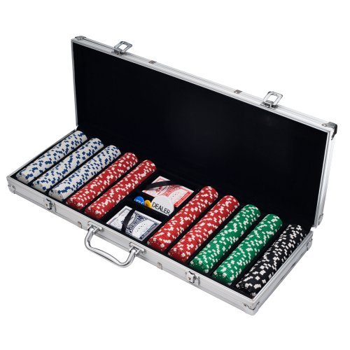 Poker Chip Set for Texas Holdem, Blackjack, Gambling with Carrying Case, Cards, Buttons and 500 Dice Style Casino Chips (11.5 Gram) by Trademark Poker, Silver