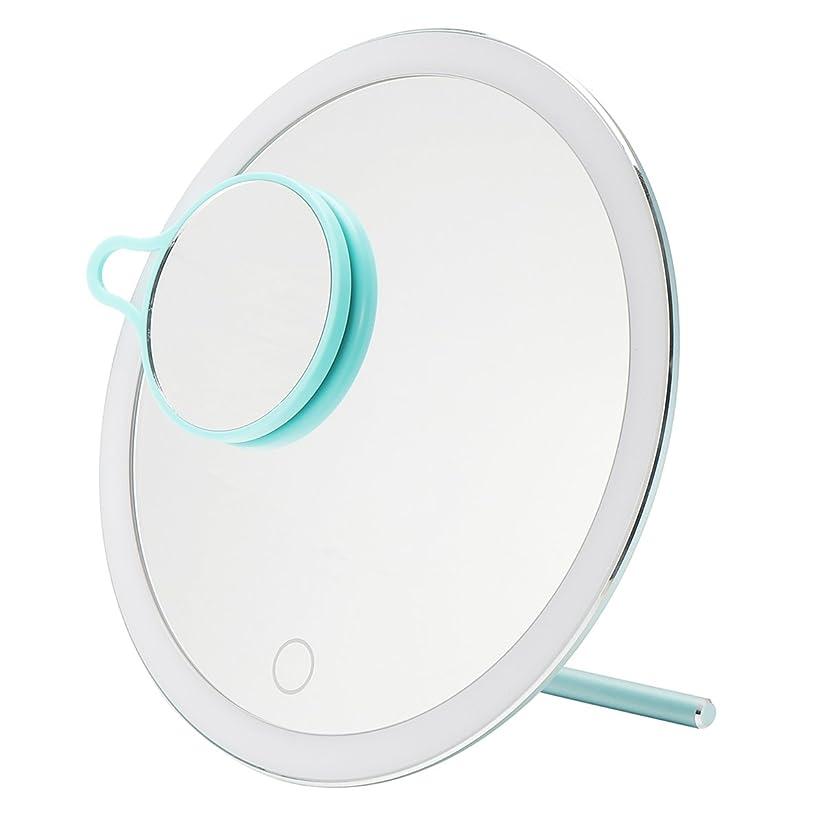 着実に普通に合成YZUEYT USB LEDライトメイクアップミラータッチスクリーン携帯用拡大鏡バニティテーブルトップランプ化粧ミラーメイクアップツール YZUEYT (Color : Color Blue)