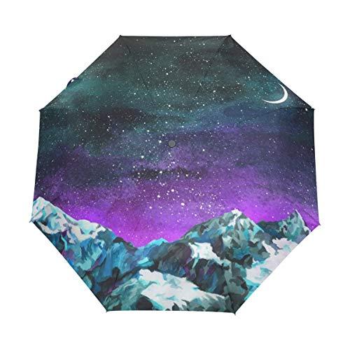 Ahomy Reise-Regenschirm, Winddicht, faltbar, Landschaft, Sternenhimmel, Mond, Berge, Regenschirm, automatisches Öffnen und Schließen, Rutschfester Griff und Schutzhülle