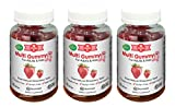 3 Pack of Gummy Multivitamins for Adults & Kids - Delicious Natural Strawberry Gummy Bear Vitamins - Kosher Certified Gluten Free No Artificial Flavors or Colors