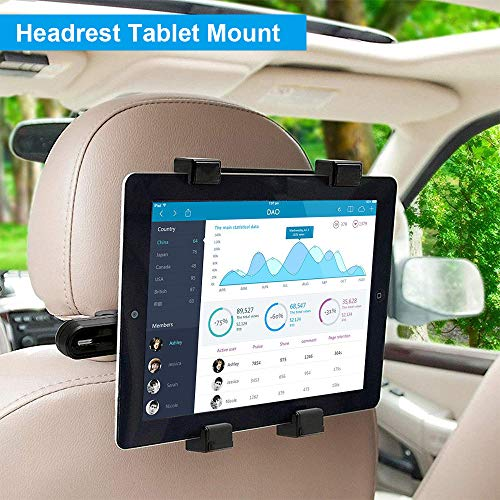 Car Tablet iPad Headrest Mount Holder, Backseat Headrest Tablet Mount for Kids Compatible with iPad Mini Air Pro Samsung Galaxy Tab A E S Series All 7-10 inches Tablet