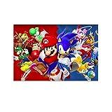 DRAGON VINES Póster personalizado de Super Mario Sonic The Hedgehog Collision para dormitorio, sala de estar, muralista decora con arte de pared de cocina 20 x 30 cm