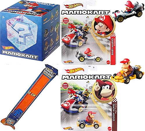 Item Boxes! Series Mariokart Mario Racer Bundled with Baby Diddy Kong Pipe Frame Kart + Blind Box Accessory Exclusive + Track 4 Items