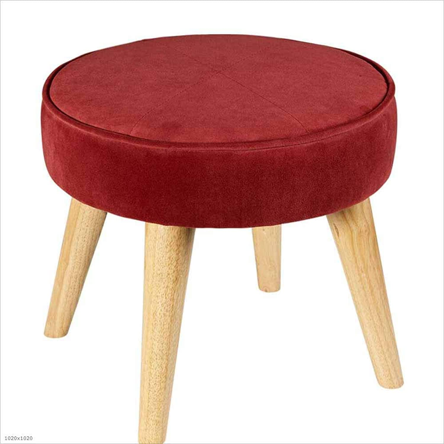 Sofa Stool Fabric Removable and Washable shoes Stool Solid Wood Footstool Low Foot Small Stool 40×36Cm, 4