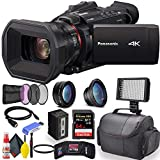 Panasonic HC-X1500 4K Professional Camcorder with 24x Optical Zoom, WiFi HD Live Streaming W/UV and HD Filter Kit + Soft Case + Sandisk Extreme Pro 64GB Card + LED Light + HDMI + Care Set + More