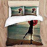 HARXISE Ropa de Cama - Juego de Funda nórdica Mantener Caliente,Rojo Paraguas Playa Costa apuntalar litoral mar Oceano romántico Amor Agua Arena mujer240 x 260cm