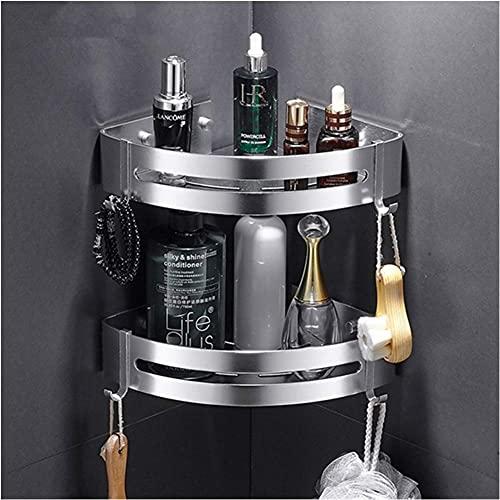 Mensola per doccia da bagno, supporto da parete per bagno triangolare in alluminio Space, senza bisogno di trapano, con 4 ganci, Utilizzato in cucina e bagno (Silver)
