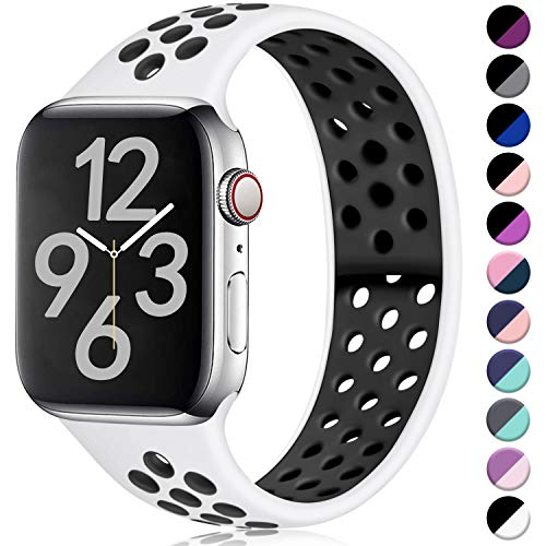 Hamile Cinturino Compatibile con Apple Watch 38mm 40mm, Due Colori Morbido Silicone Traspirante Cinturini Sportiva di Ricambio per Apple Watch Series 5/4/3/2/1 S/M Bianco/Nero