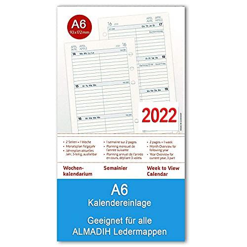 A6 Kalendereinlage 2022 (1 Woche auf 2 Seiten) für ALMADIH Ledermappen: A6 Terminplaner, Organizer & Kombimappe – Ersatz-Kalendarium Kalender Einlagen Zeitplaner Jahresplan (A6 Kompakt 2022)