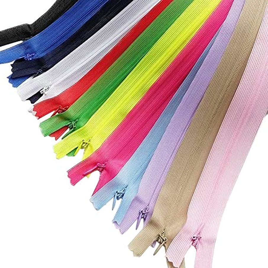 Chenkou Craft 12pcs Silk Invisible Zipper Lace Tape Closed Clothes Dress Sewing Craft 22 Inch(Full Lnegth is 23.6 Inch) Assorted Color Zippers