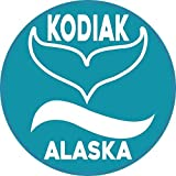 StickerTalk Circular Whale Watching Kodiak Alaska Vinyl Sticker, 4 inches by 4 inches