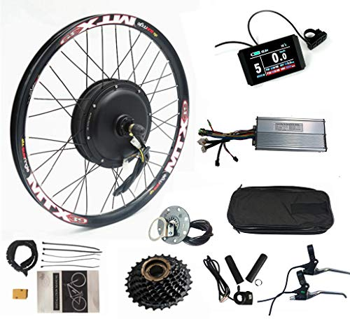 Color Display, Electric Bike Conversion Kit 52V 2000W Rear Motor Wheel Bicycle Kit with Sine Wave Controller, 7 Speed flywheel (26inch)