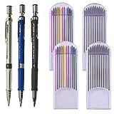 Kit 3pz Portamine Matita Meccanica da Disegno +48 Ricariche Mine 2.0 Colore/Nero(4 lattine) per Progetto di Disegni Scrivere Cartone Animato