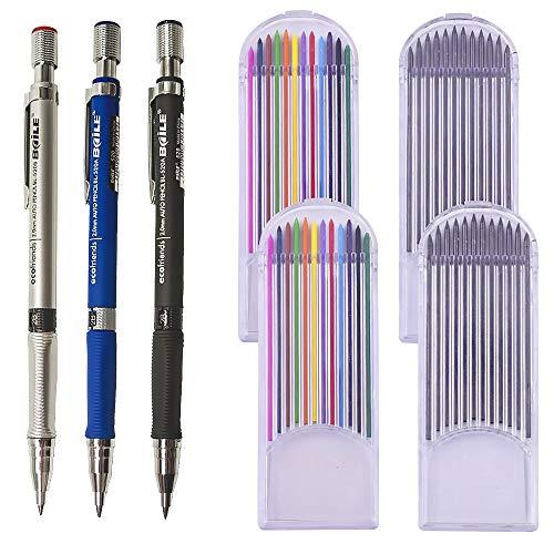 3pcs Portaminas Lápiz de 2.0 mm+48pcs Recargas de Plomo Lápiz Automático Oficina y Papelería Escolar para Dibujo Escritura Bosquejo