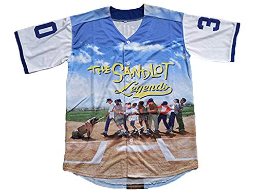 23 Bel Air Short Sleeve Benny 'The Jet' Rodriguez Jersey 30 The Sandlot Legends T Shirt 3D Print Fashion Baseball Jersey (30 Blue, Small)