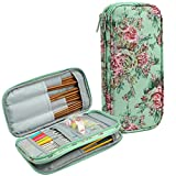 QZLKNIT Knitting Needles Case, Empty Travel Organizer Storage Bag for Circular and Straight Knitting Needles,Crochet Hooks and Knitting Accessories,Crochet Hook Case Only