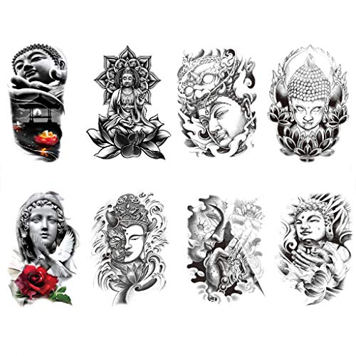 CARGEN® 8 Blätter Realistische Temporäre Tattoos Lord of Buddha Selbstklebende Tattoos Aufkleber für Männer Frauen auf dem Rücken Brust Schulter Madonna Fake Tattoos Body Art für Erwachsene