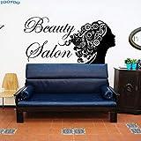 Salon de beauté Sticker Mural Mode Fille Cheveux Style Stickers Muraux Creux Out Décor À La Maison Mur Art...
