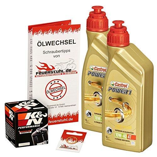 Castrol 10W-40 Öl + K&N Ölfilter für Kawasaki ER6f / ER6n, 05-15, EX650A EX650C - Ölwechselset inkl. Motoröl, Filter, Dichtring