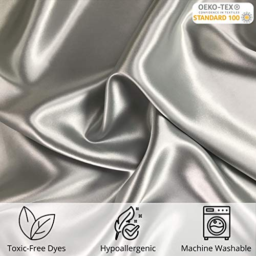 Celestial Silk 100% Silk Pillowcase for Hair Zippered Luxury 25 Momme Mulberry Silk Charmeuse Silk on Both Sides of Cover -Gift Wrapped- (King, Silver)