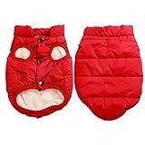 JoyDaog 2 couches doublées polaire super chaud dog gilet et veste pour l'hiver rouge M