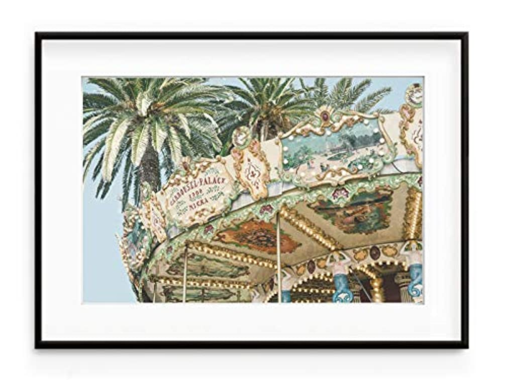 Carousel Vintage Solid Oak Natural Frame with Mount, Multicolored, 30x40