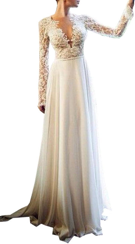 Ellystar Women's Simple ALine Taffeta Long Sleeves Zipper V Neck Bridal Dresses