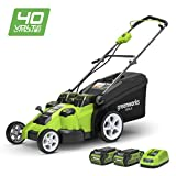 Greenworks battery double blade lawnmower G40LM49DBK2x (Li-Ion 40V 49cm cutting width up to 330m² 2in1...